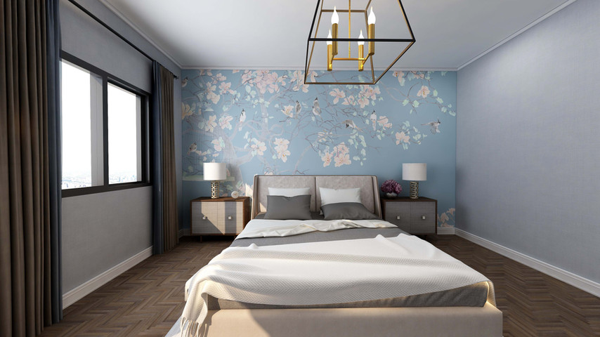 Guest Bedroom with soothing brown and blue color palette.