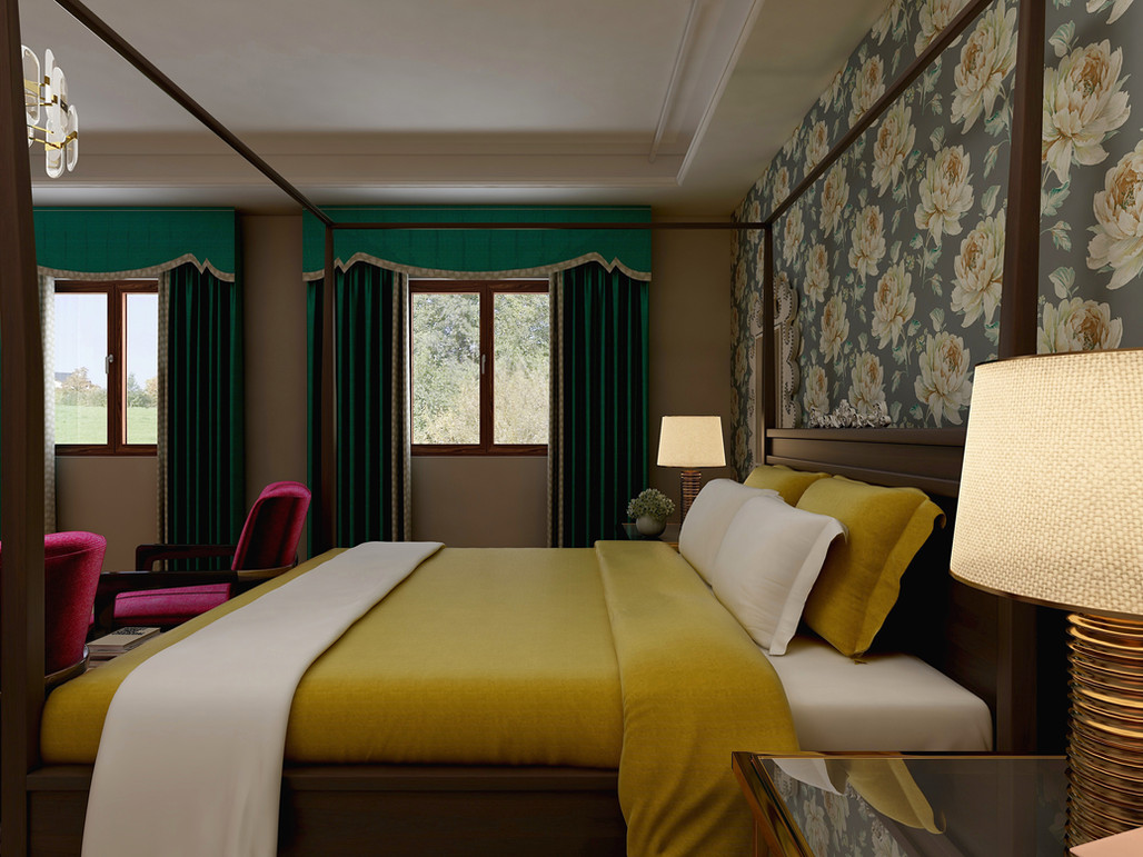 Window treatments with cornice box, jewel tones bedroom.