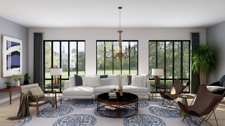 Family room in transitional style.
