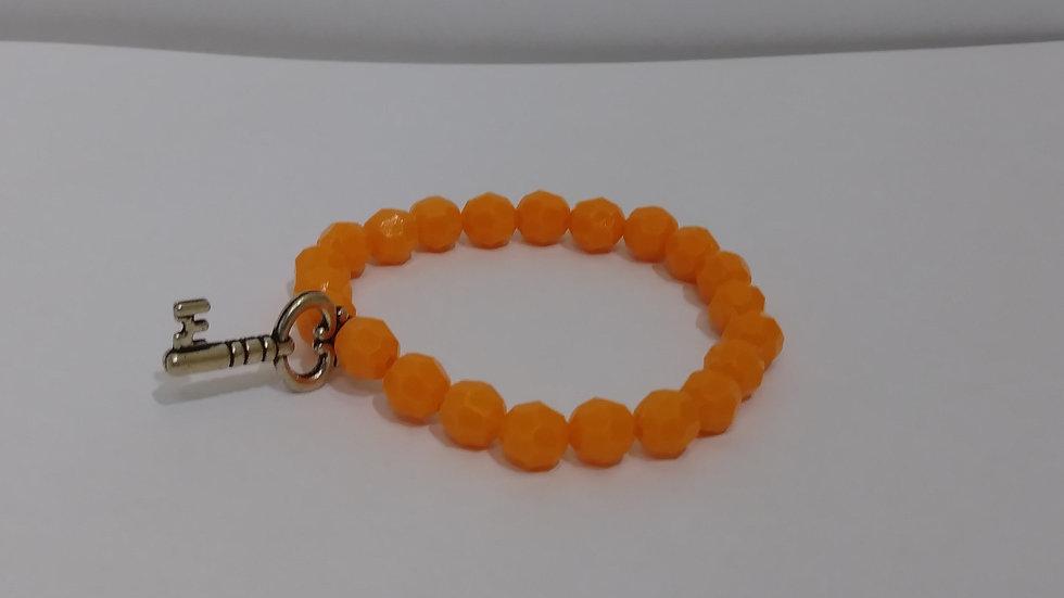 Orange Bracelet w/ silver Keycharm