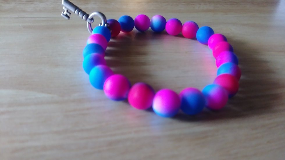 Pink and Blue Ombre' Bracelet w/ key charm