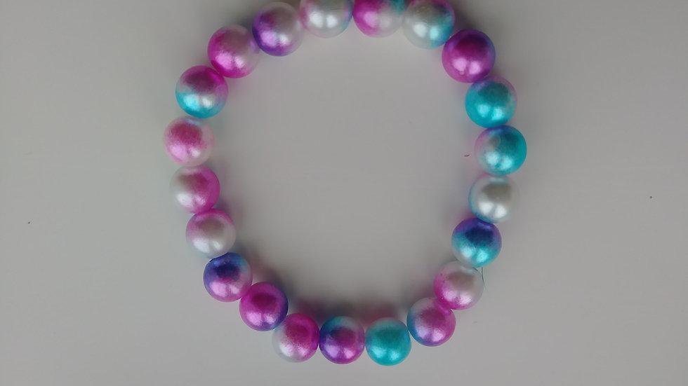 Tri-Color Marble Pearl Bracelet