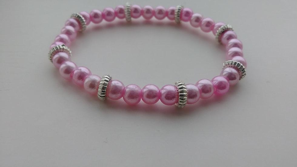 Pink Pearls w/ Silver Ringlets Bracelet