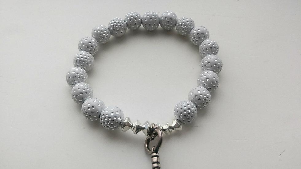 White Clay Diamond Bracelet w/ charm