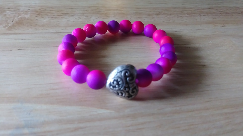 Purple and Pink Ombre' Bracelet w/ heart charm