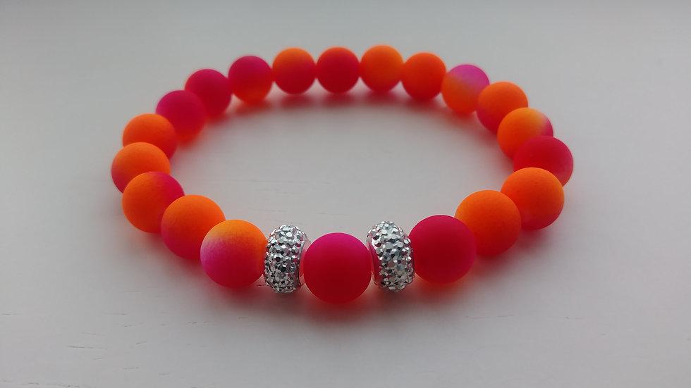 Ombre' Orange & Pink Bracelet w/ Silver Nugget Ringlets