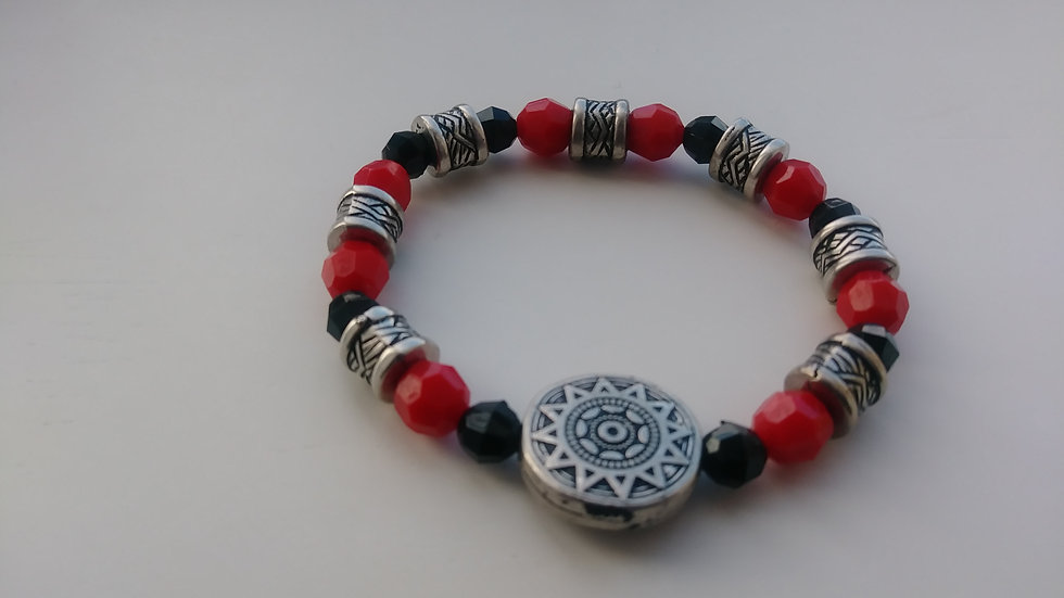 Red, Black, and Silver Tribal Necklace