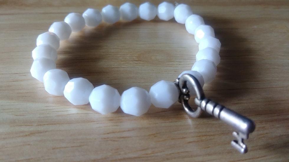 White Bracelet w/ key charm