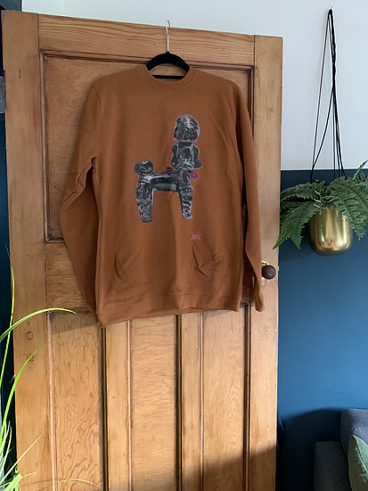 Poodle sweater brown - M
