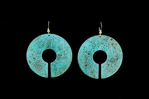 Patina Sun Disk Earrings | Modern Artifacts | Handmade Jewelry | Houston TX