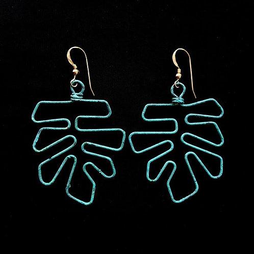 Tropical Leaf Wire Earrings
