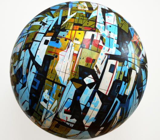 'Globe', Çap.70cm Ahşap üzerine yağlıboya heykel