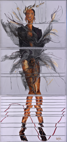 'Bilinmeyen', 210x100cm. 2017 Tuval üzerine yağlıboya ve karışık teknik, plexiglass ile kaplı