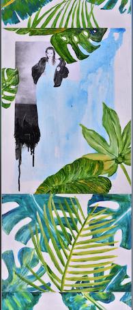 'Çağdaş kadın', 165x50cm 2018 Forte eser Tuval üzerine akrilik karışık teknik