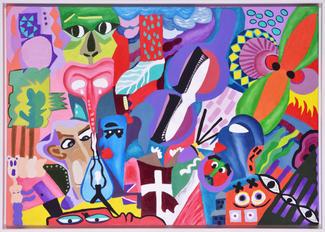 'Interactivity with Forms' 70x100cm 2020 Tuval üzerine akrilik