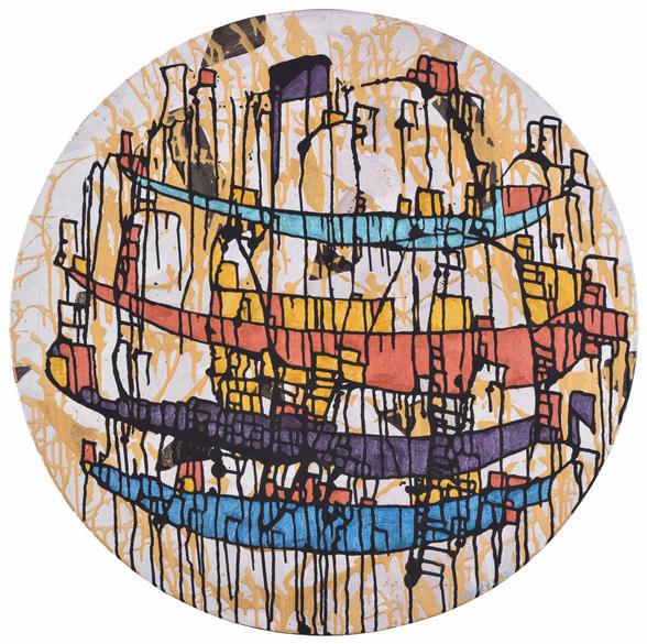 'Saltanat kayığı', Çap.90cm 2018 Tuval üzerine akrilik boya