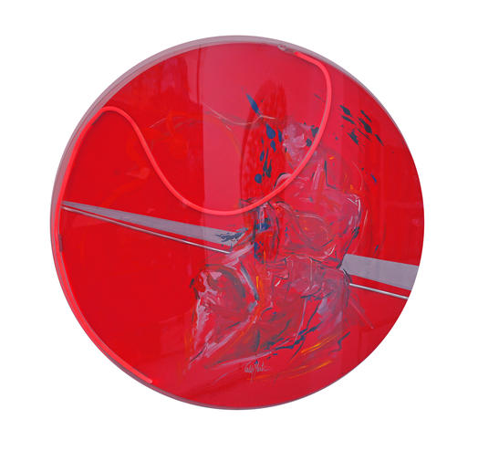 'Hamamda kadın 1', çap.100cm. Tual üzerine akrilik, ışıklı pleksiglass kaplı