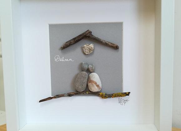 Steinbild - Stoneart, Wandbild für Verliebte, Paar, Geschenk zum Einzug, Dahoam