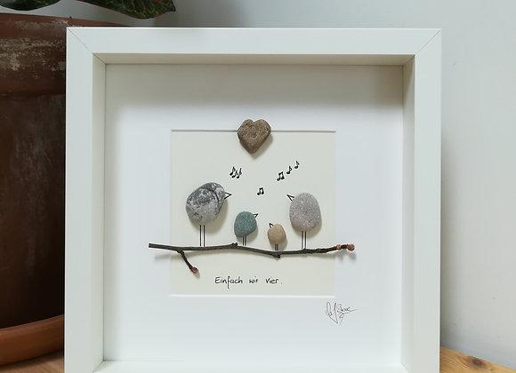 Steinbild - Stoneart, Vogelfamilie, Einfach wir vier, Singende Familie