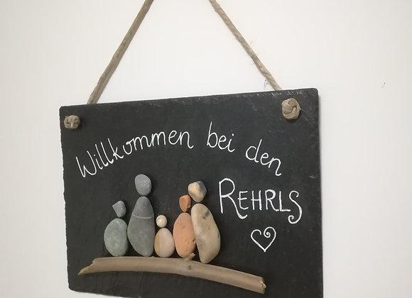 Stein auf Stein - Schiefertafel, Türschild für das Zuhause einer Familie, Willkommen