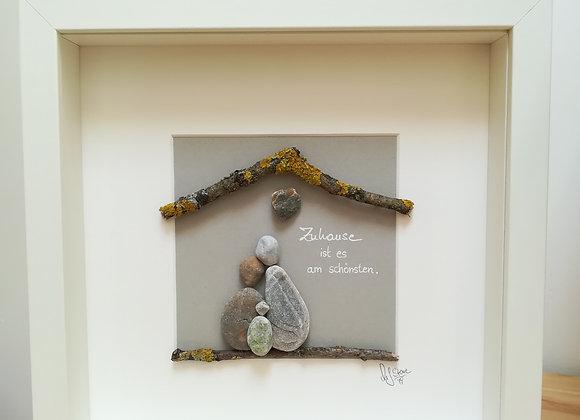 Steinbild - Stoneart, Familie, zu dritt, Zuhause ist es am Schönsten