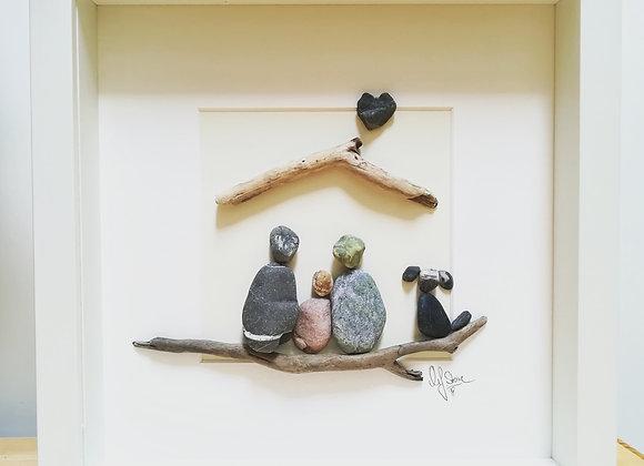 Steinbild - Stoneart, Familie mit Kind und Hund, unter einem Dach