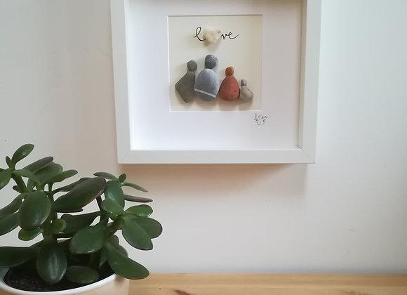 Steinbild - Stoneart, vierköpfige Familie mit Schriftzug Love und Steinherz
