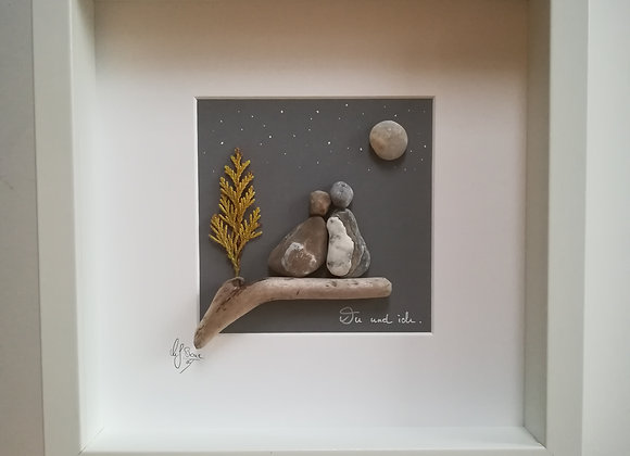 Steinbild - Stoneart, für Verliebte, für Paare, mit Spruch du und ich