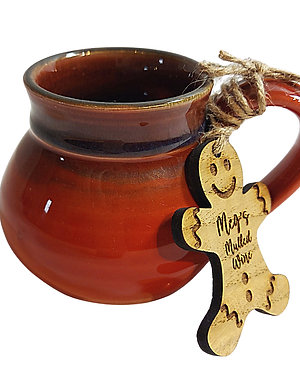 Hand Thrown Mulled Wine Cup with Personalised Tag