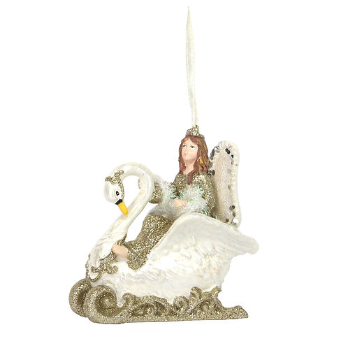 Fairy Princess in Swan Sleigh Bauble by Gisela Graham