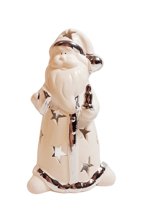 White and Silver Modern Santa Tealight Holder