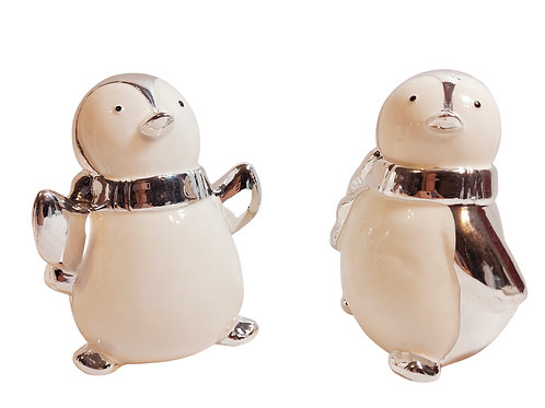 Set of 2 Large Silver and White Penguin Decorations