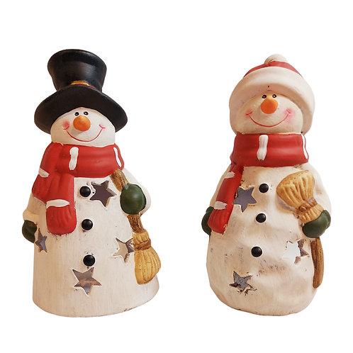 Set of 2 Jolly Snowmen Ceramic Tealight Holder