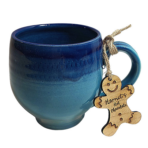 Hand Thrown Hot Chocolate Mug with Personalised Tag