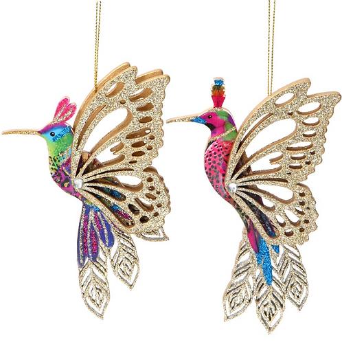 Pair of Gisela Graham Fretwork Hummingbird Tree Bauble