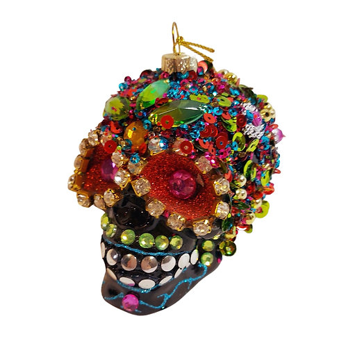 Sequinned Day of the Dead Skull Decoration