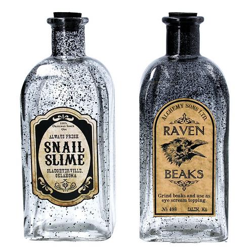 Set of 2 Spooky Halloween Decoration Glass Bottles by Gisela Graham