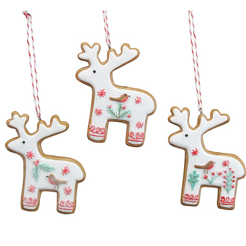Nordic Gingerbread Style Resin Reindeer Christmas Decorations by Gisela Graham