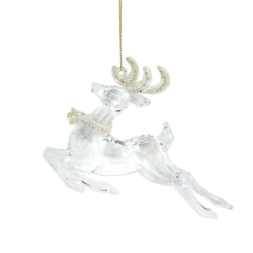 Clear Prancing Reindeer with Gold Antlers Decoration