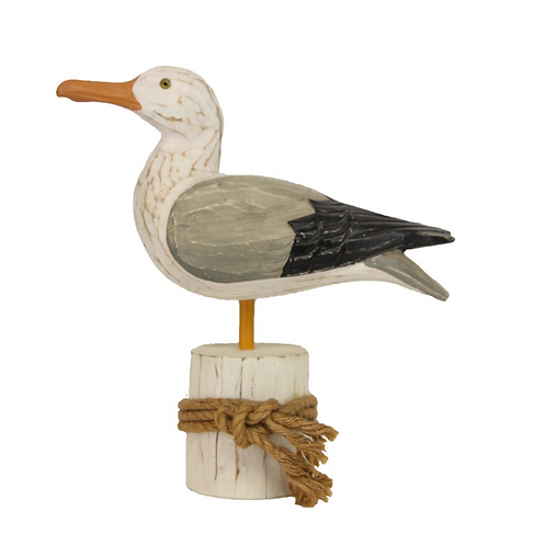 Carved Wooden Seagull Ornament by Gisela Graham