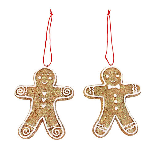 Resin Gingerbread Man and Wife Christmas Tree Decorations by Gisela Graham
