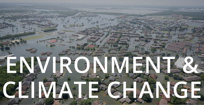 """Environment and Climate Change"" text overlaying an image of houses flooded by Hurricane Harvey."