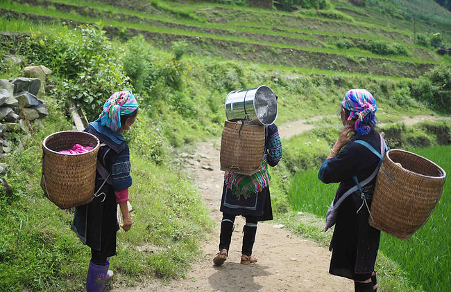Women carry colorful goods on their back up a steep mountainside
