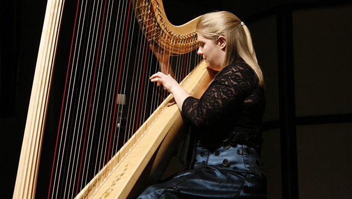 Harpistas passam 90 por cento da vida afinando suas harpas e 10 por cento tocando desafinados.