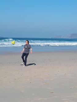 Chas Soccer on Cornish Beach