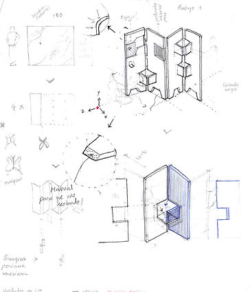 maqueta, model, furniture, folding screen, minerva