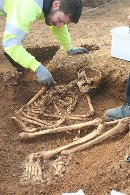Skeleton excavated at Greystones Farm