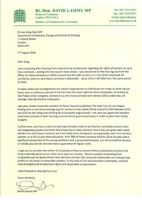 Letter to Greg Clark calling for action on zero hours contracts