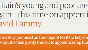 Guardian article on apprenticeships cuts