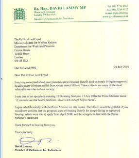 Letter on supported housing